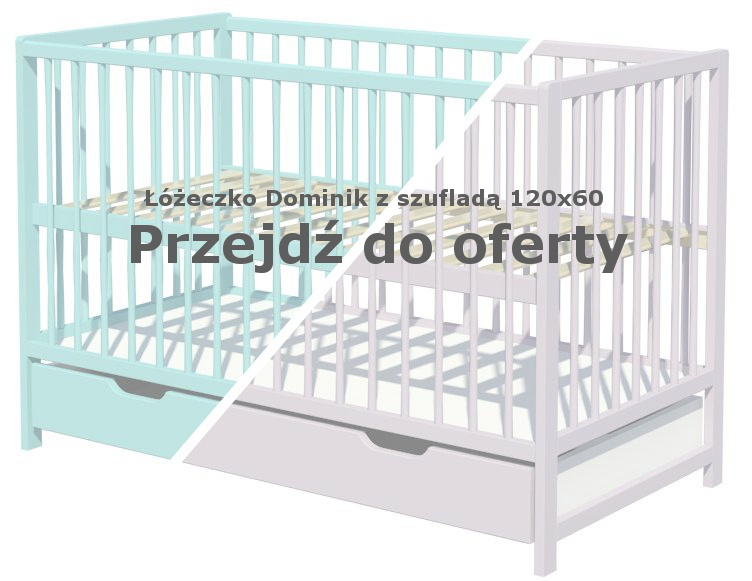 Łóżeczko dla dziecka Dominik 120x60 z szufladą miętowe i szare