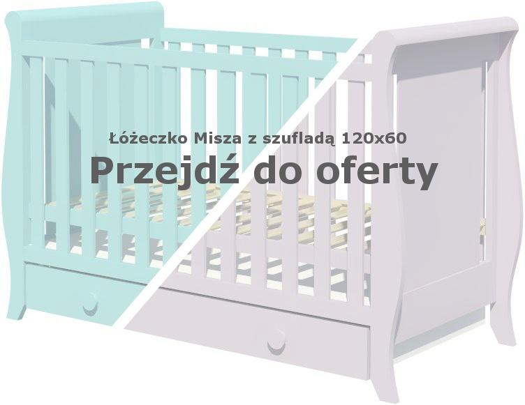 Łóżeczko dla dziecka Misza 120x60 z szufladą miętowe i szare