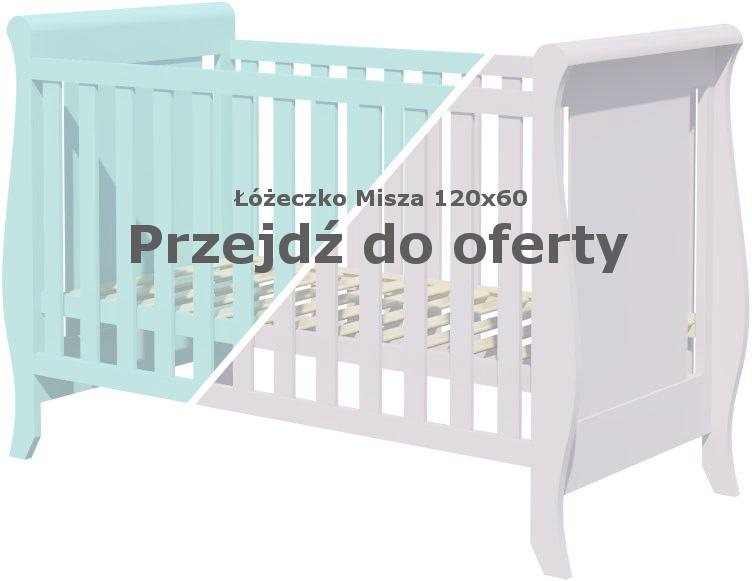 Łóżeczko dla dziecka Misza 120x60 miętowe i szare