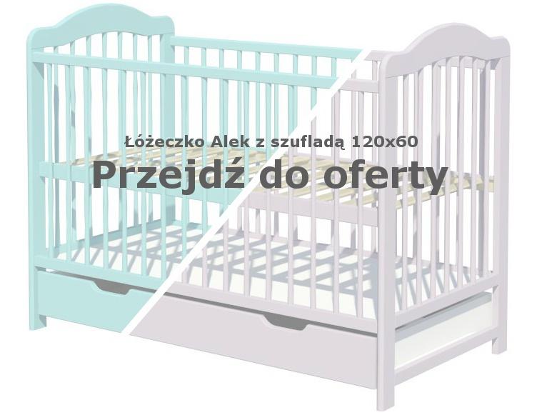 Łóżeczko Alek z szufladą Miętowe szare 120x60