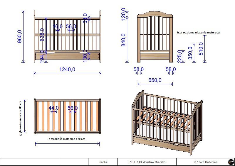Wymiary łóżeczka niemowlęcego z szuflada