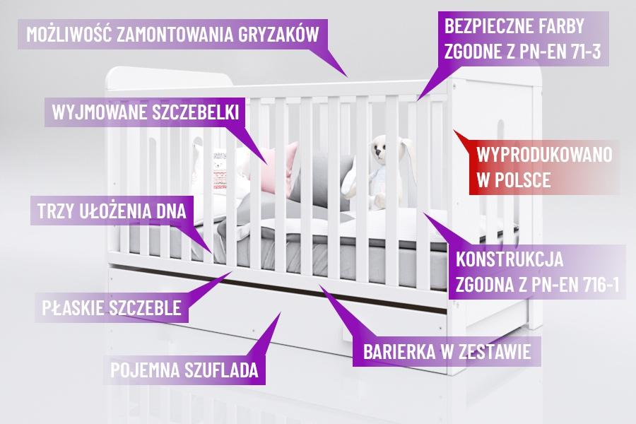 Łóżeczko Zuza 140x70 właściwości