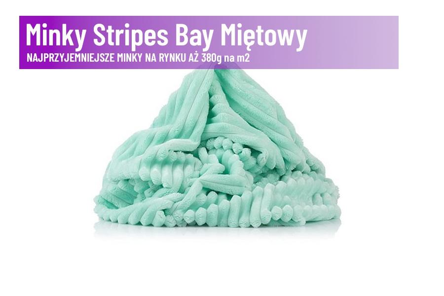 Minky Stripes Bay Miętowy