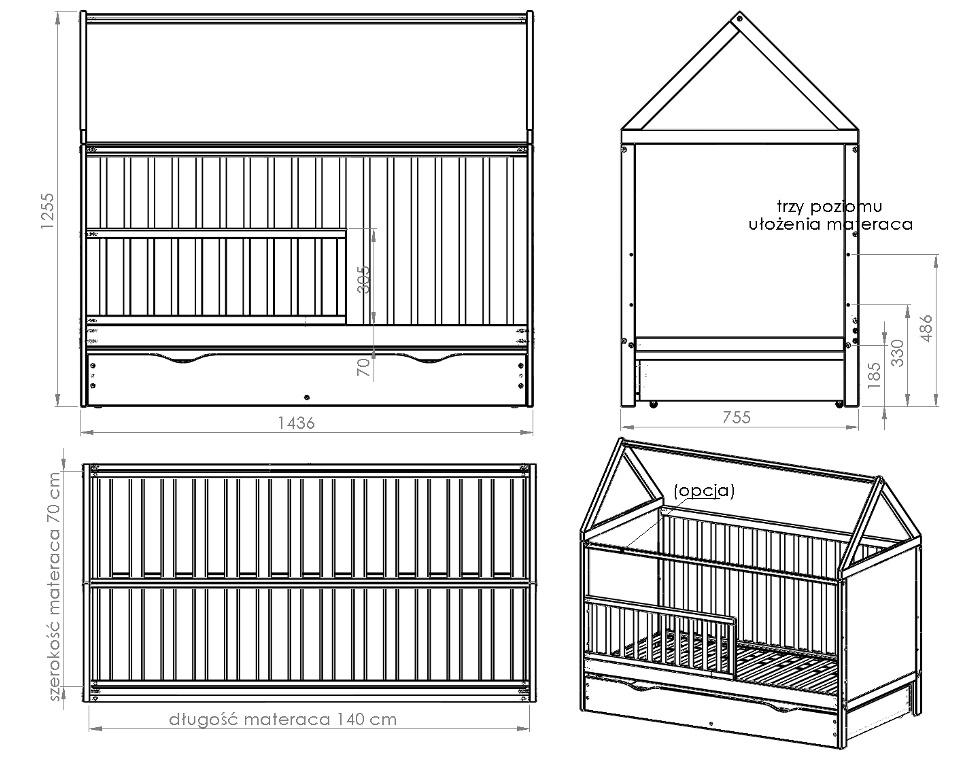 łóżeczko Tapczanik 140x70 House Domek Z Szufladą łóżeczka