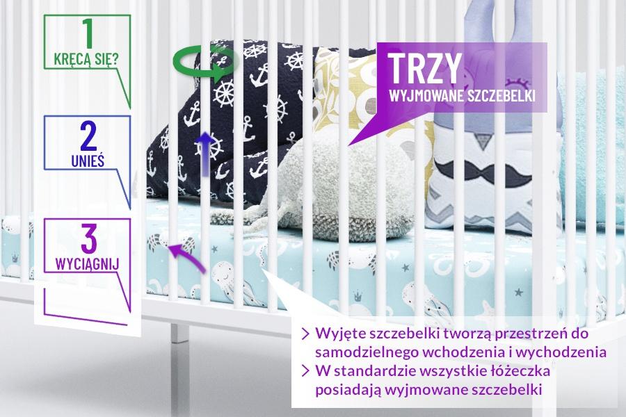 Wyjmowane szczebelki w łóżeczku