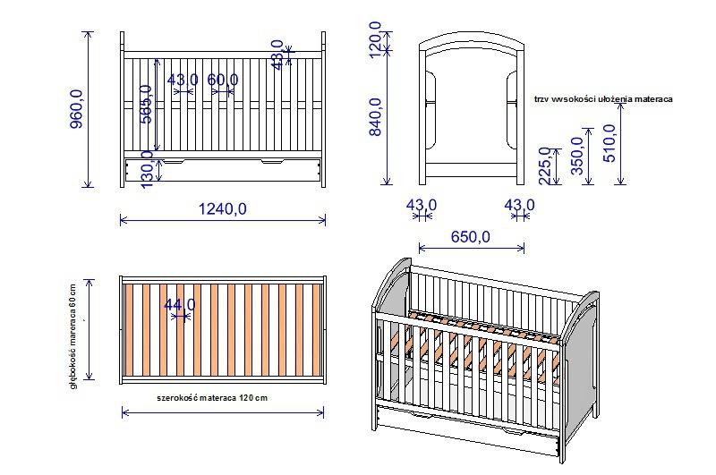 Wymiary łóżeczka Adaś2 z szuflada schemat