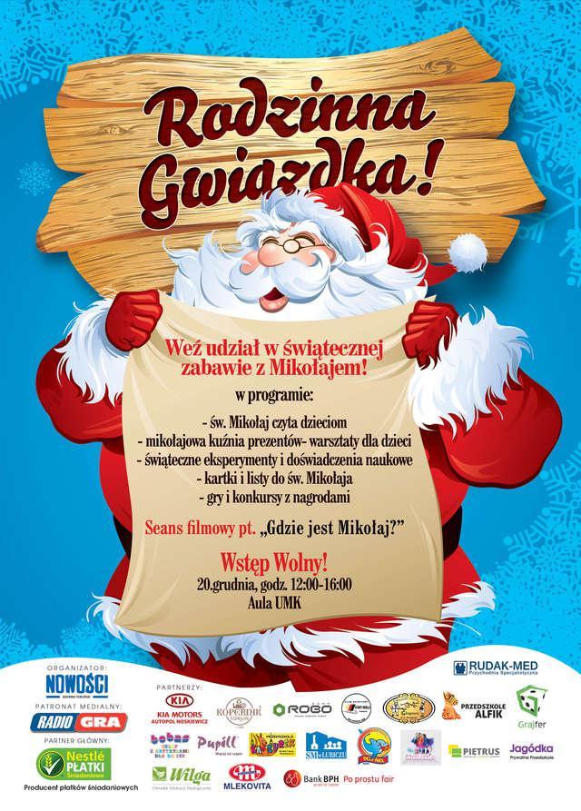 Jako partner EVENTU, zapraszamy na Rodzinną Gwiazdkę, w godzinach 12:00-16:00 Aula UMK stanie świątecznym miejscem, gdzie każde dziecko znajdzie coś dla siebie.