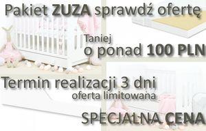 PAKIET Drewniane Łóżeczko Zuza 120x60 z szufladą